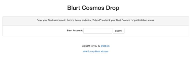 Blurt Cosmos Drop Submit